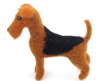 Needle felted Airedale Terrier, felted dog, wool felt pet minature, terrier dogs