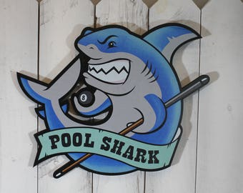 In Time for Christmas/Pool Shark/Billiard Sign/Shark/Pool Sign/Billiard Decor/Game Room Sign
