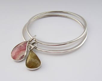 Glad Of The Curve - sterling silver wavy gemstone bangle (1), one bangle, silver rhodochrosite bangle, everyday pink simple silver bangle