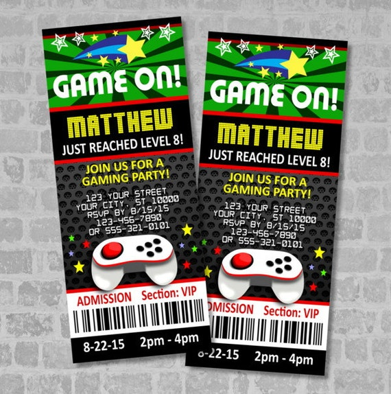 Video games party ticket invitations gaming birthday party like this item stopboris Image collections