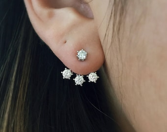 CZ Ear Jackets, Stud Earrings, front back earrings, lovely ear jacket, CZ 3mm stone earring studs, silver ear sweeps, gold, rose gold studs