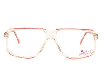 pink transparent vintage eyeglasses - cazal style new 1980's deadstock glasses - mauve eye glasses frame - affordable - prescription