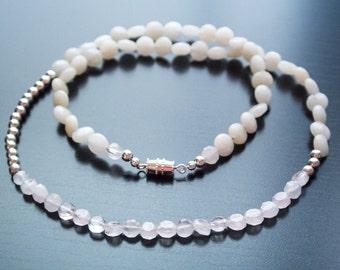 Silent Rose Necklace - Gemstones, White Necklace, Silver Jewelry, Gift For Her, Anniversary Gift, Rose Quartz, Cream Quartz, Quartz, Wedding