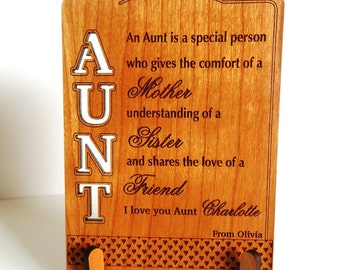 Gift for Aunt-Gifts for Auntie from Niece-Aunt Gift Ideas-Aunt Appreciation Gift-Personalized-Plaque, PLA010