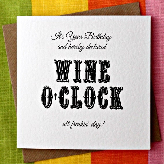 Wine oclock funny wine birthday card funny birthday like this item bookmarktalkfo Image collections