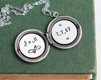 Personalized Necklace, Personalized Locket, Initial Locket, Locket Necklace, Date Necklace, Anniversary Gift for Her, Personalized Wedding
