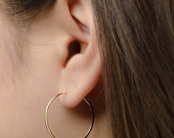 Medium Hoop Earrings, Sterling Silver, Gold Plated, Gold Filled Hammered Wire Hoops, Hoop Earrings, Handmade, Lunaijewelry, Gift, EAR004
