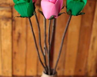 Wooden Roses, Rustic , One Dozen with  Stems