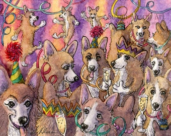 Welsh Corgi dog 5x7 8x10 11x14 print pup celebration party fourth July new year's eve cordial greetings by Susan Alison watercolor painting