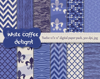 Blue paper, geometric pattern, fleur de lis, chevron, quatrefoil and wood in blue and white, background, card making, pattern paper,