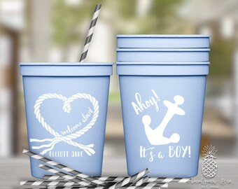 Nautical Boy Baby Shower Cups | Personalized Plastic Cup | Monogram Cups | Anchor Party Favor Cups | Party Cups | social graces and Co.