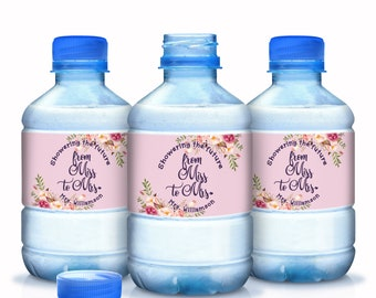 From Miss to Mrs Bridal Shower Water Bottle Labels - Bridal Shower - Showering the Future Mrs Bottle Wraps - Bridal Shower Favors