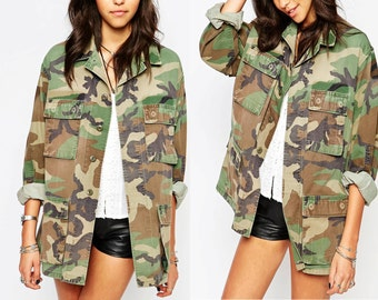 All Sizes -Reclaimed Authentic Military Issued Woodland Bdu Camo Jacket