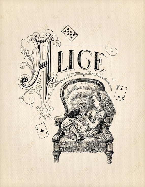 Alice In Wonderland Instant Download Printable Clipart Cat