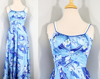 1960s to 1970s Blue Hawaiian Maxi Dress by DeWeese, Extra Small to Small | 60s/70s Vintage Floral Satin Dress (XS, S, 36-28-48)