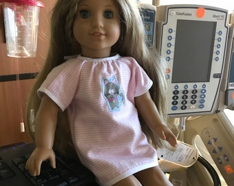 """Pink and White Hospital Gown and Doll Slippers - Fits an 18"""" American Girl Sized Doll"""