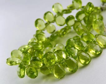 GREEN PERIDOT Gemstone, Faceted Pear Briolette,  Semi Precious Gemstone Briolettes. 7-8mm. Pairs or NonMatching 1 to 5 Briolettes  (03per1).