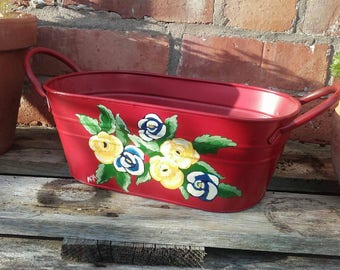 Hand painted metal planter