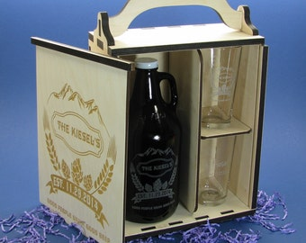 Personalized Wood Beer Growler Gift Box Set with Growler and 2 Pint or Belgian Tulip Glasses.