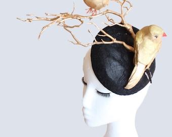 Chapeau Caussade Gold Bird Hat Golden Branch Fascinator Black Lace Hat Black and Gold Fascinator Headpiece Luxury Millinery