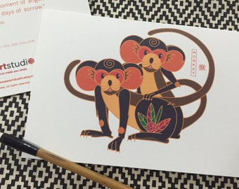 Year of the Monkey Notecard Set of 12 - Chinese Zodiac Animal