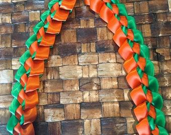 Orange and Green Satin Ribbon Lei