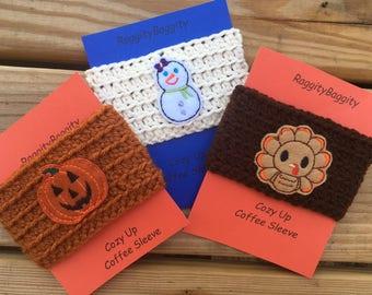Holiday Coffee Cozies - Thanksgiving Cozie - Halloween Cozie - Christmas Cozie