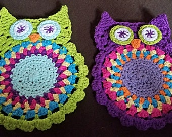 Hand Made Crocheted Owl Trivet/Coaster