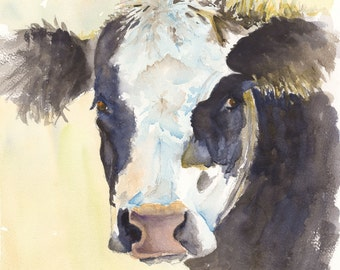 Angus cow watercolor painting print cattle art print canvas farm art animal watercolor animal print cow canvas abstract cow art kitchen art