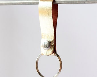 Leather Keychain / Snap Loop / Gold Metallic