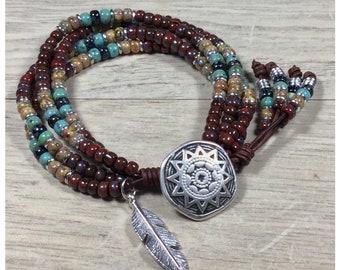 Beaded Wrap Bracelet, Southwestern Wrap Bracelet, Charm Bracelet, Boho Wrap, Native American Style Seed Bead Leather Wrap Bracelet for her