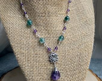 Amethyst and Jade Lotus Necklace