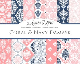 28 Coral and Navy Damask Digital Paper. Scrapbook Backgrounds. Pink and Navy Wedding seamless patterns for Commercial Use.Clipart Download.