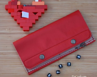 Red Long leather wallet, card holder with zip pocket