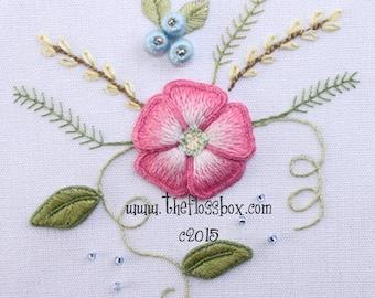 Pink Flower Stumpwork Embroidery Pattern