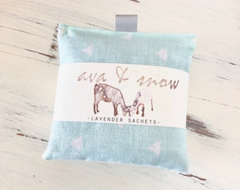 Handmade Lavender Sachet Set, Cotton Fabric Sachets, Dried Lavender Sachet