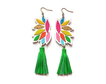 Green Tassel Earrings, Leather Earrings, Colorful Statement Earrings, Geometric Earrings, Rainbow Earrings, Leather Jewelry, Tassel Jewelry