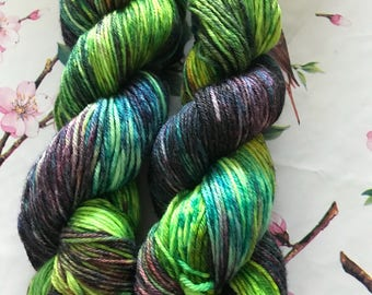 Seaweed Superwash Merino Bamboo DK hand dyed yarn skein