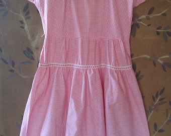 50s pink and white gingham dress