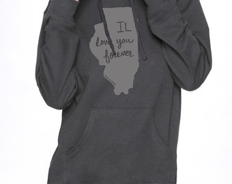 illinois hooded sweatshirt, illinois hoodie, illinois print, longsleeve shirt, gray, unisex hoodie, megan lee designs, free ship
