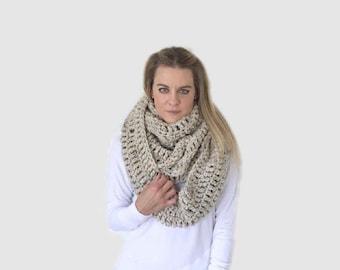 Huge Extra large Chunky Crochet Blanket Infinity Scarf | Beige/Tan/Oatmeal| THE COPERTA