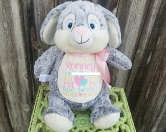 Personalized Stuffed Bunny , Embroider Stuffed Bunny
