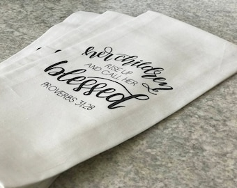 Hand Sewn, Calligraphy Linen/Cotton Blend Tea Towels