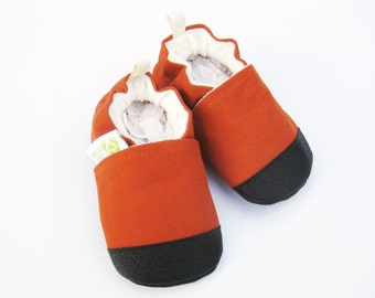 Organic Vegan Heavy Canvas Pumpkin / non-slip soft sole baby shoes / made to order / Babies Toddler Preschool