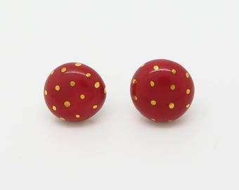 Circle Gold Polka Dot Earrings with Titanium Posts