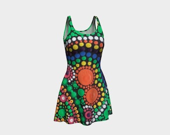 Heart Flare Dress - Summer dress - Wearable art - Festival Clothing - Colourful - Printed Dot Painting - Dress