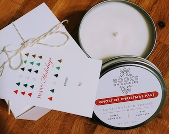 Ghost of Christmas Past Soy Candle inspired by Dickens' A Christmas Carol.  Holiday scented book candle Book Lovers Gift.