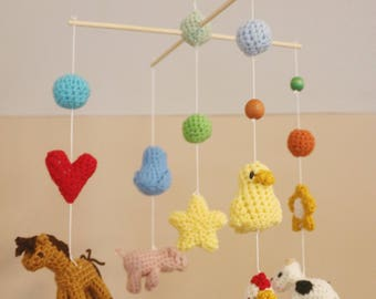Crochet Happy Farm Friends Crib Mobile (Ready To Ship)