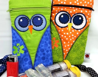Owl Medicine Pack / Epi-Pen Case / Diastat Case / Asthma Case/ Purse by Alert Wear