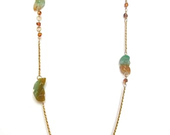 Agate and Amber Long Yellow Neklace